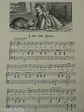 vintage nursery rhyme engraving & music I LOVE LITTLE PUSSY