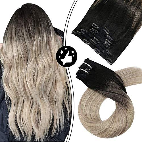 Moresoo 24 Pouces/60cm Balayage Couleur Extension de Cheveux Naturel 7 Tissage #1B Noir a #18 Ash Blonde avec Blonde #60 Clip in Human Hair Extension 100g