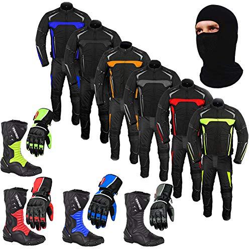 Traje de moto Botas de moto Zapatos Guante Traje de 2 piezas Rider Bike - Moto Chaqueta de traje impermeable con guantes de pantalón Negro MixMtch