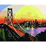 Joilkmgg Pintar por Numeros Puente al Atardecer Pintar por Numeros Kits Adultos Niños Pintura por Numeros con Pinceles Lienzo y Pinturas Acrilicas 40X50cm Sin Marco