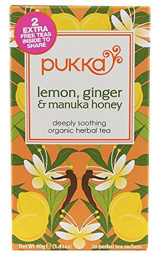 Pukka Hierbas Limón y Jengibre + Manuka Miel Té 20 Bags (paquete de 4)