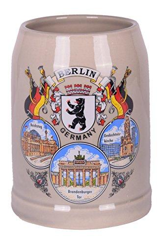 Bierkrug und Steinkrug im Deutschland und Berlin Motiv aus Feinsteinzeug 0,5L