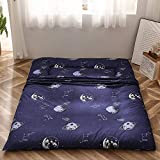 Navy Space Adventure Japanese Floor Futon Mattress, Thicken Tatami Mat Sleeping Pad Foldable Bed Roll Up Mattress Floor Lounger Bed Couches and Sofas for Kids Queen Size