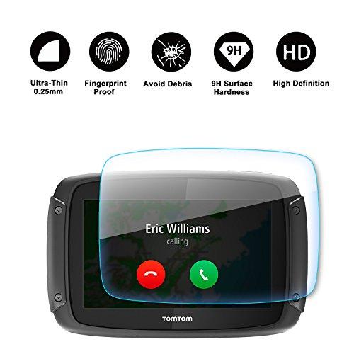 RUIYA Protector de pantalla de vidrio templado para TomTom Rider 40 410 400 450 Sistema de navegación,Crystal Clear HD Protector de pantalla[4,3 pulgadas]