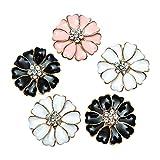 Monrocco 30 Pieces Metal Enamel Rhinestone Crystal Flower Buttons Flatback Embellishments ...
