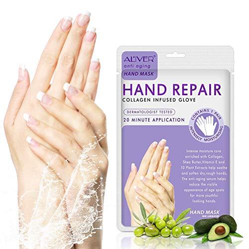 Feuchtigkeitsspendende Handschuhe, (4 Paar) Handmaske, für die Handpflege Pflegende Regenerierende Peeling-Maske für Trockenes Altern und Rissige Hände