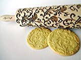 ROYAL Rolling pin Wooden engraved rolling pin with classic flowers Embossed cookies Pottery Birthday gift for mother friend bridal shower