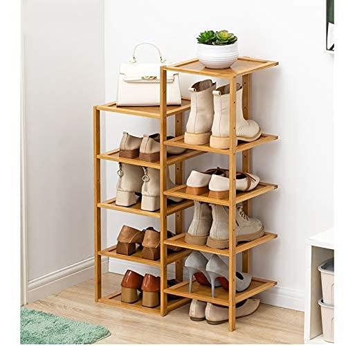 HHTX Zapateros Independientes de Doble Fila y 10 Niveles, Organizador de Almacenamiento de zapateros de bambú Que Ahorra Espacio Puede acomodar 10 Pares de Zapatos para Dormitorio, Color Madera 5