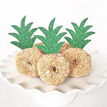 Pineapple Donut Cupacke Topper Glitter Green Cake Picks Hawaiian Luau Tropical Party Decoration Bridal Baby Shower Birthday Wedding Summer Theme