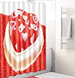JOVEGSRVA Cartoon Kuchen Form Proof Stoff Duschvorhang Für Bad Wasserdichter Badvorhang Badvorhang Mit 12 Haken