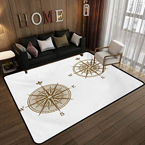 Dormitory Floor mat,Ancient Shipping Windrose Design Travel Jouney Theme Sea Life Marine Discovery Art,Non-Slip Decoration of Floor mats for Patio Doors Pale Brown 6'x7'(180x210cm)