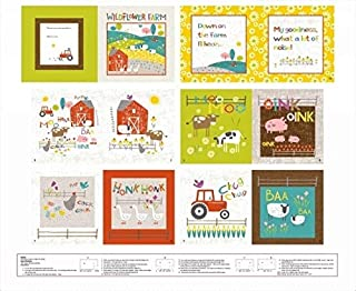 Wildflower Farm Book Panel 36 x 44 Cotton Fabric by Studio E Fabrics