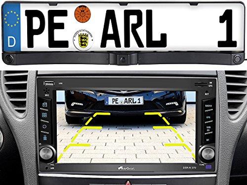 Lescars Rückfahrcamera: Rückfahrkamera & Einparkhilfe mit Abstandswarner, Nummernschildhalter (Rückfahrkamera mit Abstandsmessung)