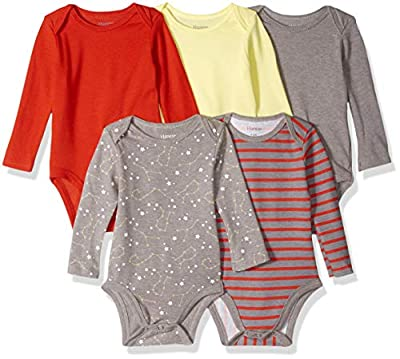 Hanes Ultimate Baby Flexy 5 Pack Long Sleeve Bodysuits, Yellow/Reds, 12-18 Months