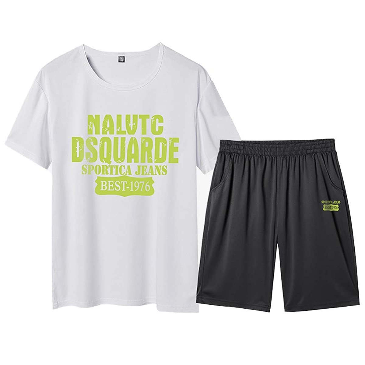 Men's Casual 2 Piece Outfits Short Sleeve and Shorts Running Jogging Athletic Sports Set Summer Tracksuits