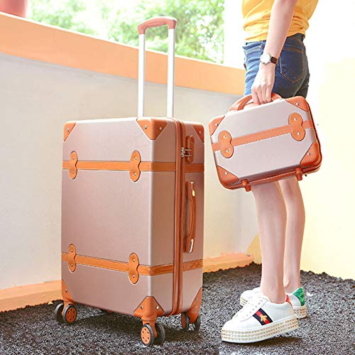 Vintage Waterproof Rolling Luggage,Cute Suitcase for Teen Girl, Women, Hard Shell Travel Trolley, Set of 2