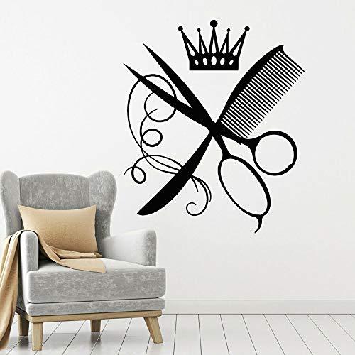 Arte Decoración Peluquería Pared Peine Tijeras Peluquería Salón de Belleza Decoración Vinilo Diseño de Cabello | Art Deco para la motivación y la inspiración