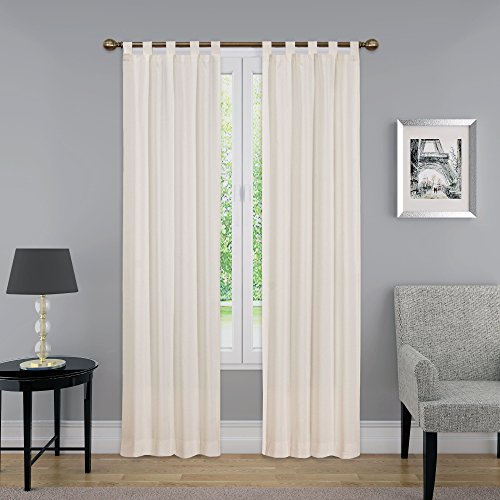"""PAIRS TO GO Montana Tab Top Curtains for Living Room, Double Panel, 30"""" x 84"""", Natural"""