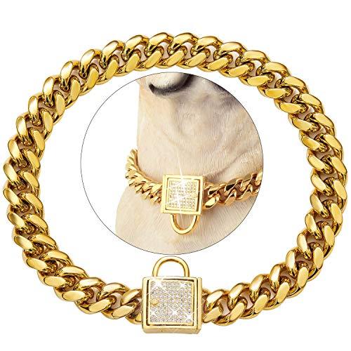 PRADOG Dog Collar with Zirconia Locking 10MM Gold Metal Puppy Collar Luxury Dog Bling Necklace Small Medium. (10MM, 16')
