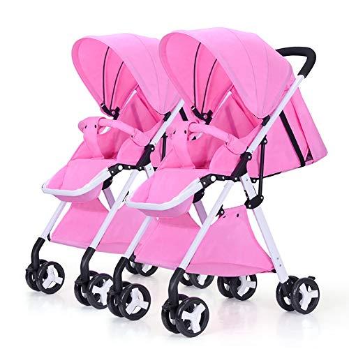 TY-Baby trolley Mmm @ Poussette jumelle de bébé, Cadre léger détachable léger Blanc de Chariot à Double Chariot de Suspension Chariot ( Color : Rose )