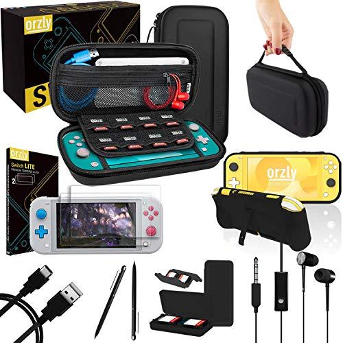 Orzly Switch Lite Accessoire Pack pour Nintendo Switch Lite (2019) Pack Comprenant: Protecteurs d'écran en Verre Trempé, Câble Type C, Housse [Étui Rigide], Coque Comfort Grip Case et Plus. - Noir
