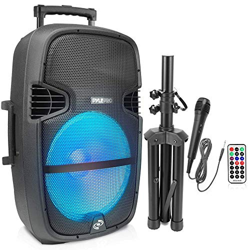 Portable Bluetooth PA Speaker System - 1000W Outdoor Bluetooth Speaker Portable PA System w/Microphone in, Party Lights, USB SD Card Reader, FM Radio, Wheels - Remote Control, Tripod- Pyle PPHP1548B