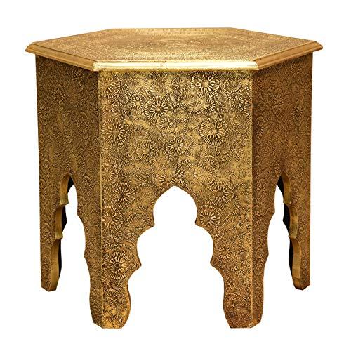 Casa Moro Orientalischer Beistelltisch Targa Höhe 46 x Ø 46 cm Holz-Tisch komplett mit Messingintarsien Verkleidet im Antik-Gold Look | Kunsthandwerk Pur | MA77-345