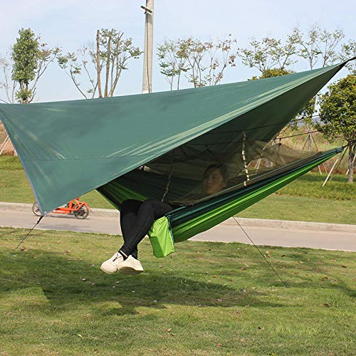 YSCYLY Hamac Suspendu avec Sac,Ensemble de Tente à baldaquin pour hamac moustiquaire,Portable Hamac pour Le Camping, randonnée, Kayak et de Voyage