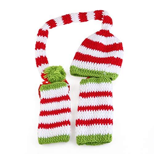 TOYANDONA 2 Piezas Accesorios para Fotos de Bebé Recién Nacido Trajes de Ganchillo Sombrero de Navidad Calcetines Tejidos a Mano Trajes de Disfraces de Navidad Sesión de Fotografía