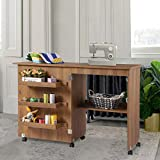 Folding Wood Sewing Table Sewing Machine Craft Cart Cabinets Clearance with Storage Shelves Bins and Lockable Casters for Home(Brown)