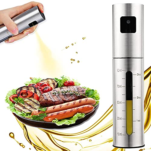 Oil Sprayer for Cooking - Oil Spray Bottle, 100ml Olive Oil Sprayer for Kitchen, Oil Dispenser for Kitchen Portable with Scale, Stainless Steel Oil Spray Bottle Leak Proof Top-Cap for BBQ, Air Fryer, Baking, Roasting, Grilling, Kitchen Gadgets