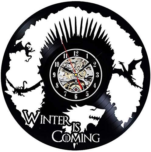 Vinyl Record Clock Game of Throne Theme Decoración de Pared