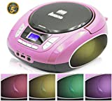 Lauson NXT965 Reproductor CD Portátil Luces LED Multicolor y Radio FM Digital y Pantalla LCD | Lector USB para Reproducir Música MP3 | CD Player con Salida de Auriculares y Altavoces (Rosa)