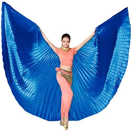 Tookang Dance Fairy Bauchtänzerin Isis Flügel Keine Sticks Tanzkostüm-Zubehör Bauch Tanz Darstellende Künste Halloween Fasching 4# Königsblau (ohne Stock)