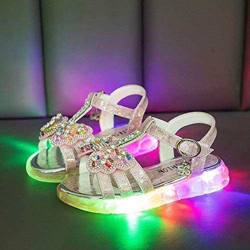 Zapatos para niños iluminados para interiores y exteriores, sandalias de jardín, lindas para niña princesa zapatos (morado rosa) (tamaño: 24, color: rosa)