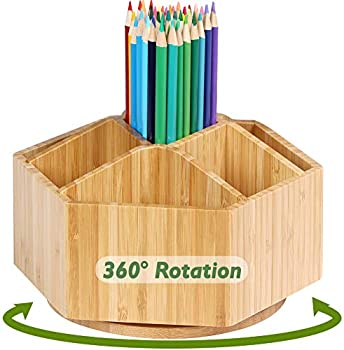 Rotating Bamboo 7-Section Organizer for Office & Art Supplies