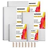 MIAHART 5 set Artista Lienzo en blanco para pintura al óleo acrílica en 5 cuadros de lienzo estirado de varios tamaños (30x35cm /25x30cm /20x25cm / 15x15cm /10x10cm)