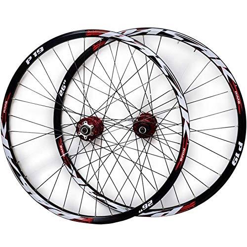 Ruedas Bici 26/27.5/29 Pulgadas Juego Ruedas Bicicleta Frente 2 Trasero 4 Rodamiento Sellado Freno Disco Liberación Rápida 32 Agujero 7-11 Velocidad Casete ( Color : Red Hub red logo , Size : 27.5IN )