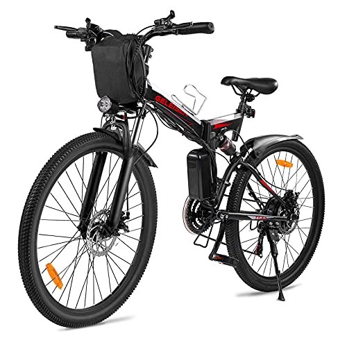 Electric Bike for Adults,GELEISEN Folding Electric Mountain Bike 26' Adults Ebike with 350W Motor & Removable 36V 10Ah Battery,20MPH Electric Bicycle with Shimano 21 Speed,Double Shock Absorption