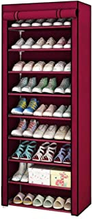 Cokeymove Gabinete De Zapatero De 4 Niveles para 6-9 Pares De Zapatos Organizador De Almacenamiento De Pie De Tela No Tejida 60 X 55 X 30 Cm Rojo//Caf/é