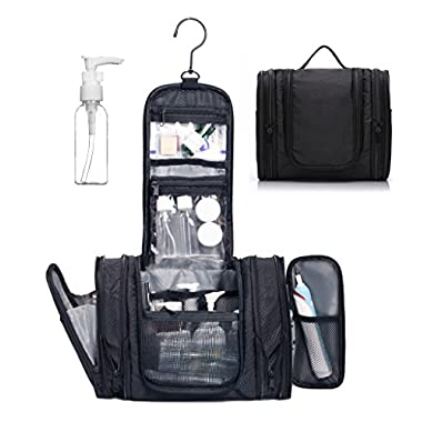 WANDF Expandable Toiletry Bag Dopp Kit TSA Approved Bottles Water Resistant Nylon, Black