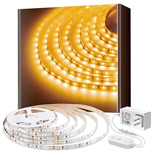 Govee LED Strip Lights Warm White 3000K Dimmable Light Strip with Ultra Bright 300 LEDs, 16.4ft Under Cabinet Lighting Flexible Tape Lights for Bedroom Christmas Decoration, ETL Listed Power Adapter