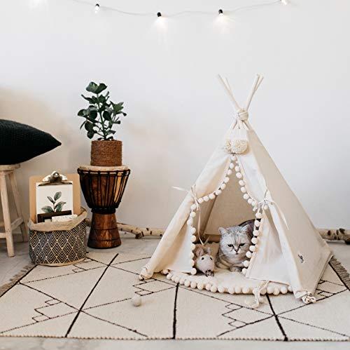 Luxus Katzenbett, Katzen Tipi, Hundebett, Hunde Tipi, Hundebetten, Haustier Tipi aus natürlichem Baumwolle und Holz, Hergestellt in EU! (Größe S)