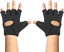 Luwint Kids Fingerless Workout Gloves - Anti-Slip Fitness Mitten for Children Cycling Yoga Weightlifting, 1 Pair