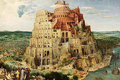 Jigsaw Puzzle,Puzzle in Legno Puzzle 1000 Pezzi Puzzle Creativo Torre di Babele Adulti Bambini Puzzle di Decompressione Creativo Cruciverba Gioco 50X75Cm,Puzzle Difficile E Sfida