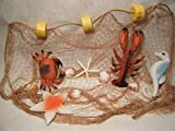 Natural Fishing Net Decor with Lobster, Crab, Seahorse,Seashells and Starfish Beach Theme Decor for Party Home Bedroom Wall Hanging Fish Net Decorations (10' x 8')