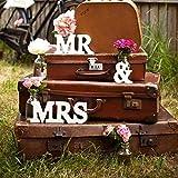 knowing Mr & Mrs Holz Buchstaben Holz Wörter Hochzeit Dekoration fur Hochzeitsfeier vorbereitungsklasse Dekoration 1Set weiß - 4