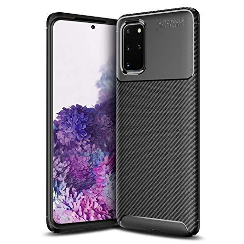 Olixar Samsung Galaxy S20 Plus Hülle Carbonfaser - Zwei Schichten - Aktive Stoßdämpfung - Fallschutz Carbon Fibre - Induktives Laden Möglich - Schwarz