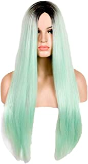 Nishore Europe and America Long Straight Hair Green Gradient Middle Parting Fashion Cosplay Synthetic Wig