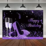 Glitter Purple Black Happy Birthday Backdrop Shiny Sequin High Heels Champagne Glass Photography Background Adult Women Girls Lady Star Banner Party Decorations Supplies Photo Studio Booth Props 7x5ft